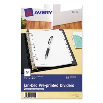 "Avery® Mini Preprinted Dividers, 5 1/2"" x 8 1/2"", 12-Tab Set, Jan.-Dec."