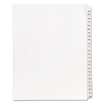Avery® Collated Legal Dividers Allstate® Style, Side Tab Dividers, Letter Size, 101-125 Tab Set
