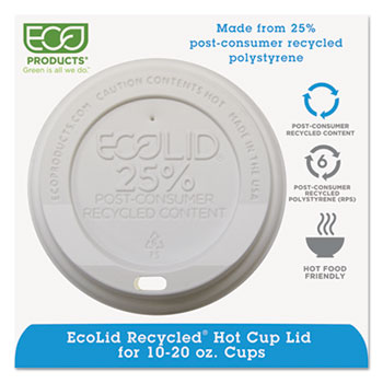 Eco-Products® EcoLid 25% Recy Content Hot Cup Lid, White, F/10-20oz, 100/PK, 10 PK/CT