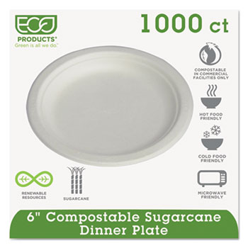 "Renewable & Compostable Sugarcane Plates Convenience Pack, 6"", 50/PK, 20 PK/CT"