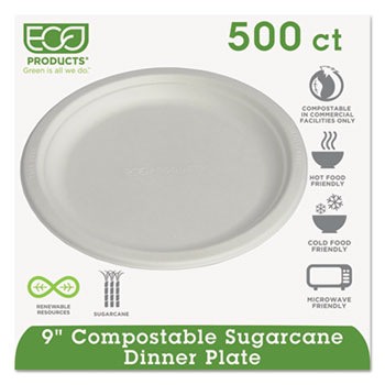 "Renewable & Compostable Sugarcane Plates, 9"", 500/CT"