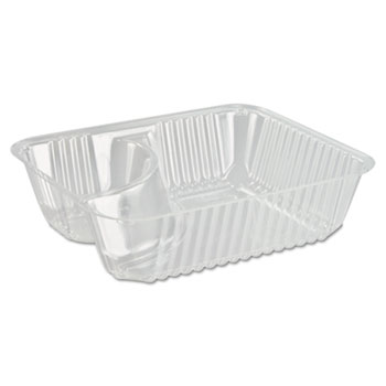 ClearPac Small Nacho Tray, 2-Compartments, Clear, 125/Bag