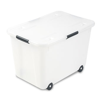 Rolling Storage Box, Letter/Legal, 15-Gallon Size, Clear