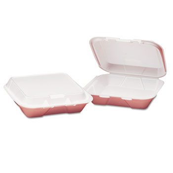 Genpak® Snap-It Foam Hinged Container, Small, 1-Comp, White, 8-7/16x7-5/8x2-3/8, 100/Bag