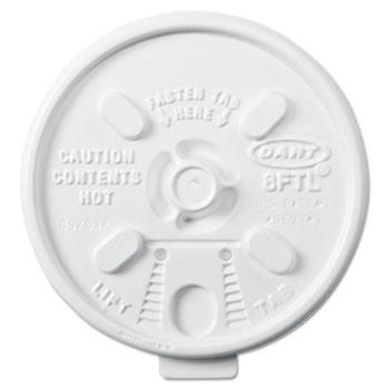 Dart® Lids, Plastic, Lift n' Lock, 6-10oz Cups, White, 1000/Carton
