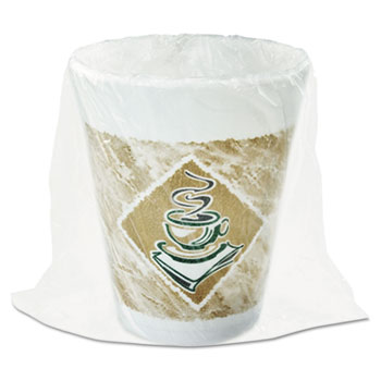 Café G Cups, Foam, 8 oz., White/Brown with Green Accents, 900/CT