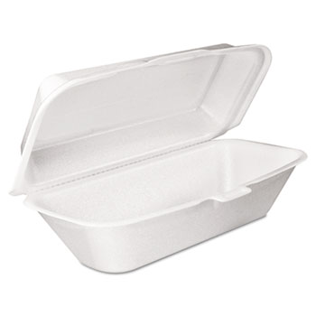 Foam Hoagie Container with Removable Lid, 9-4/5x5-3/10x3-3/10, White, 125/Bag, 500/Carton