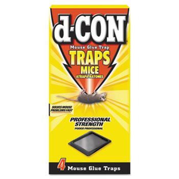 d-CON® Mouse Glue Trap, Plastic, 4 Traps/Box, 12 Boxes/Carton