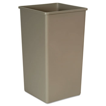 Rubbermaid® Commercial Untouchable Waste Container, Square, Plastic, 50 gal, Beige
