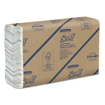 C-Fold Paper Towels, 10 1/8 x 13 3/20, White, 200/Pack, 12 Packs/Carton