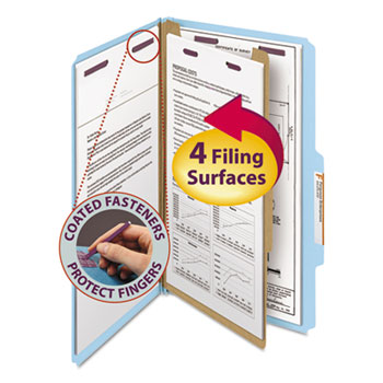 Smead® Pressboard Classification Folders, Legal, Four-Section, Blue, 10/Box