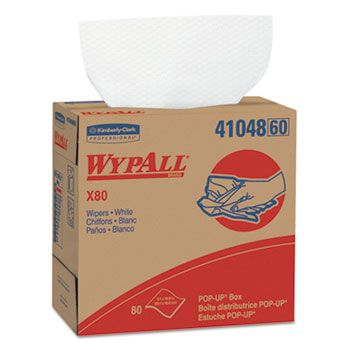 WypAll® X80 Wipers, 9 1/10 x 16 4/5, White, 80/POP-UP Box, 5 Boxes/Carton