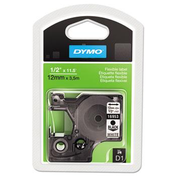 DYMO® D1 Flexible Nylon Label Maker Tape, 1/2in x 12ft, Black on White