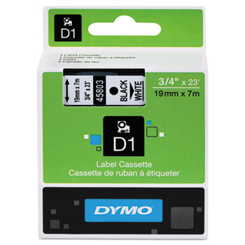 D1 Polyester High-Performance Removable Label Tape, 3/4in x 23ft, Black on White