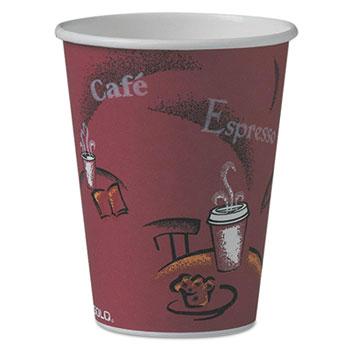 Bistro Design Hot Drink Cups, Paper, 12oz., Maroon, 50/PK