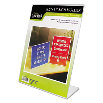NuDell™ Clear Plastic Sign Holder, Stand-Up, Slanted, 8 1/2 x 11