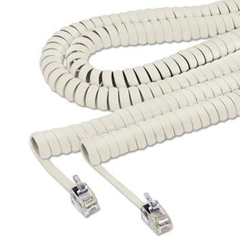 Softalk® Coiled Phone Cord, Plug/Plug, 25 ft., Ash
