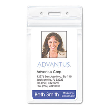 Advantus Resealable ID Badge Holder, Vertical, 2 5/8 x 3 3/4, Clear, 50/Pack
