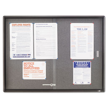 Enclosed Bulletin Board, Fabric/Cork/Glass, 48 x 36, Gray, Aluminum Frame