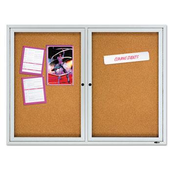 "Quartet® Enclosed Cork Bulletin Board, Cork/Fiberboard, 48"" x 36"", Silver Aluminum Frame"
