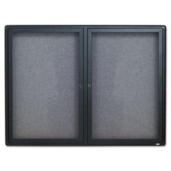 Quartet® Enclosed Fabric-Cork Board, 48 x 36, Gray Surface, Graphite Aluminum Frame