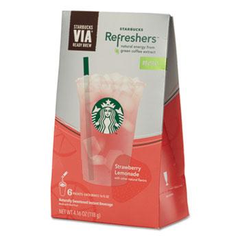 Starbucks® VIA Refreshers, Strawberry Lemonade, 4.16 oz Pack, 6/Box