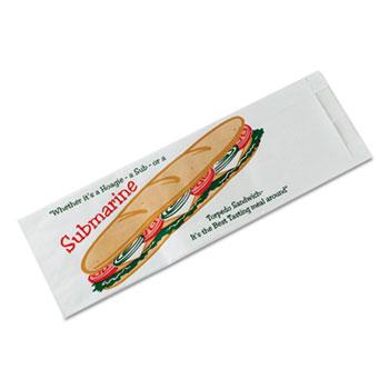 Submarine Sandwich Bags, 4 1/2 x 2 x 14, White Preprinted Submarine, 1000/Carton