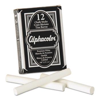 Quartet® Alpha Nontoxic Low Dust Chalk, White, 12 Sticks/Pack
