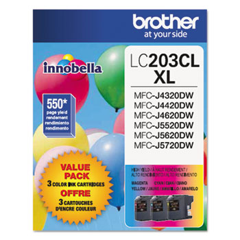 Brother LC2033PKS Innobella High-Yield Ink, Cyan/Magenta/Yellow, 3/PK