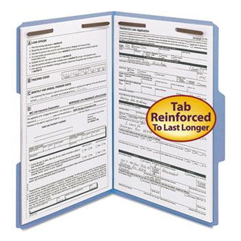 Smead Folders, Two Fasteners, 1/3 Cut Assorted, Top Tab, Legal, Blue, 50/Box