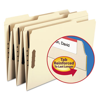 Smead Folders, Two Fasteners, 1/3 Cut Assorted Top Tabs, Legal, Manila, 50/Box