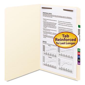Smead® Folders, One Fastener, Straight Cut, Top Tab, Legal, Manila, 50/Box