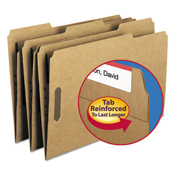 Smead® 11 Point Kraft Folders, Two Fasteners, 1/3 Cut Top Tab, Legal, Brown, 50/Box