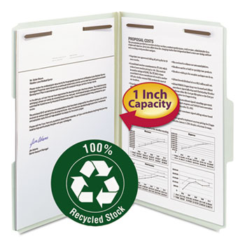 """Smead® Recycled Pressboard Fastener Folders, Legal, 1"""" Expansion, Gray/Green, 25/Box"""