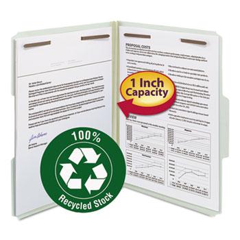 "Recycled Pressboard Fastener Folders, Letter, 1"" Exp., Gray/Green, 25/Box"