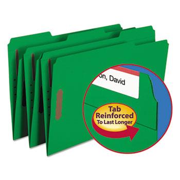Folders, Two Fasteners, 1/3 Cut Assorted Top Tab, Legal, Green, 50/Box