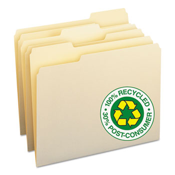 100% Recycled File Folders, 1/3 Cut, One-Ply Top Tab, Letter, Manila, 100/BX