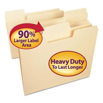 Smead® SuperTab Heavyweight Folder, Manila, 1/3 Cut, Letter, 50/BX