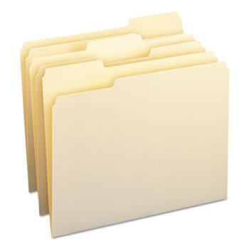File Folders, 1/3 Cut Assorted, One-Ply Top Tab, Letter, Manila, 100/BX