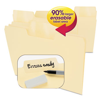 Smead® Erasable SuperTab File Folders, Letter, Manila, 24/Set