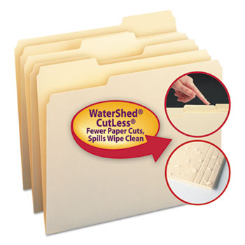 WaterShed/CutLess File Folders, 1/3 Cut Top Tab, Letter, Manila, 100/BX