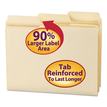 Smead® SuperTab Guide Height Reinforced Folders, Top Tab, Letter, Manila, 100/Box