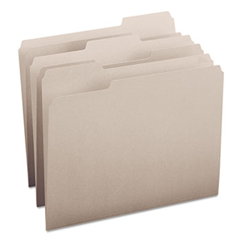 File Folders, 1/3 Cut Top Tab, Letter, Gray, 100/Box