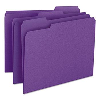 Smead® File Folders, 1/3 Cut Top Tab, Letter, Purple, 100/Box