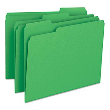 File Folders, 1/3 Cut Top Tab, Letter, Green, 100/Box