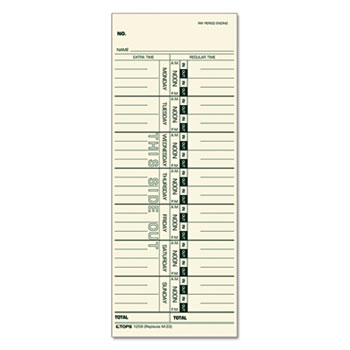 Time Card for Acroprint/IBM/Lathem/Simplex, Weekly, 3 1/2 x 9, 500/Box
