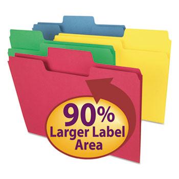 SuperTab Colored File Folders, 1/3 Cut, Letter, Assorted, 100/Box