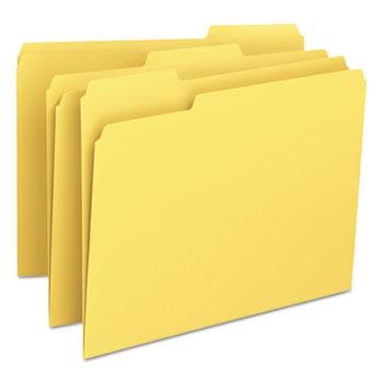 File Folders, 1/3 Cut Top Tab, Letter, Yellow, 100/Box