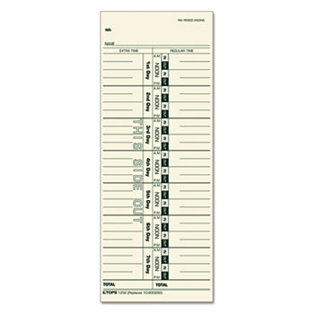 TOPS™ Time Cards for Acroprint, Cincinnati, Lathem, Simplex, Stromberg, 3 1/2 x 9, 500/Box