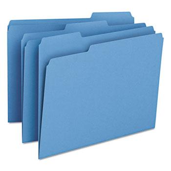 Smead® File Folders, 1/3 Cut Top Tab, Letter, Blue, 100/Box